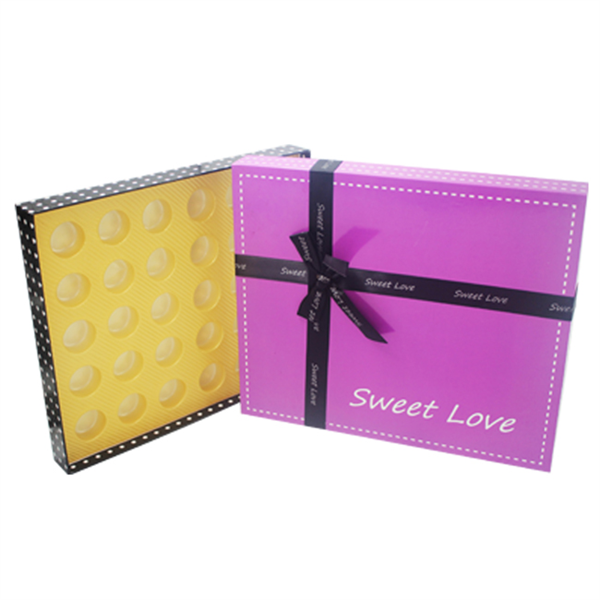 Full Color Printed Square Chocolate packaging Cardboard Box with ribbon