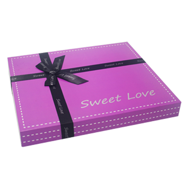 luxury square chocolate box with ribbon