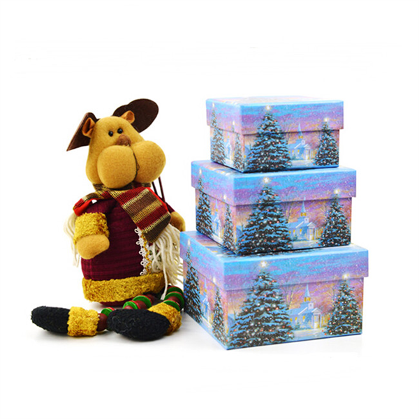 Christmas tree printing rigid gift box with lid
