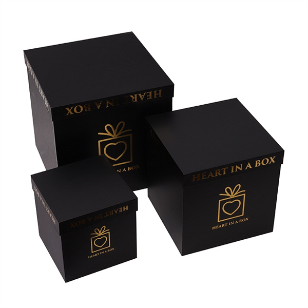 Stardard sizes paper black square flower gift boxes
