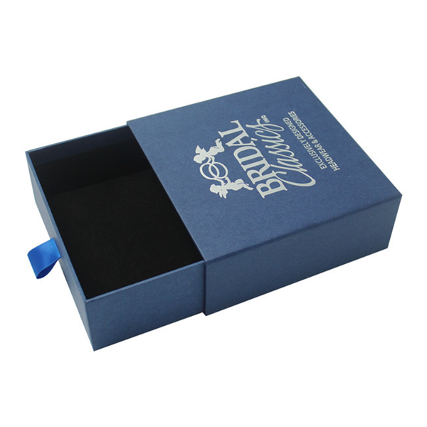 Custom Luxury Blue Cardboard Drawer Gift Box Sliding Packaging Box