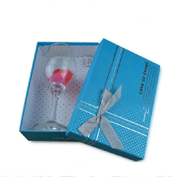 Ribbon decoration paper box with lid for gift packaging