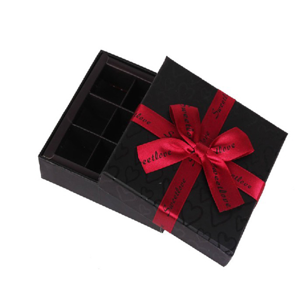 Cute Tiny Black Chocolate Box/Paper Gift Box/Packaging Box With Ribbon Bow&Tag