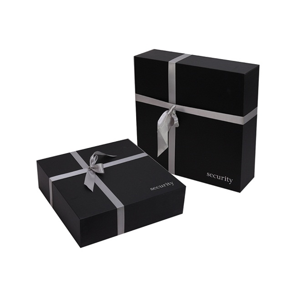 Matt black paper gift box for wedding dress packaging
