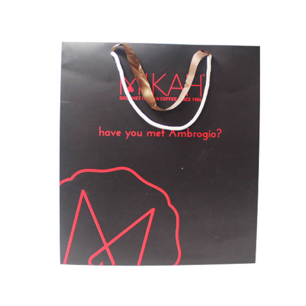 Matte black paper shopping bags with double handle