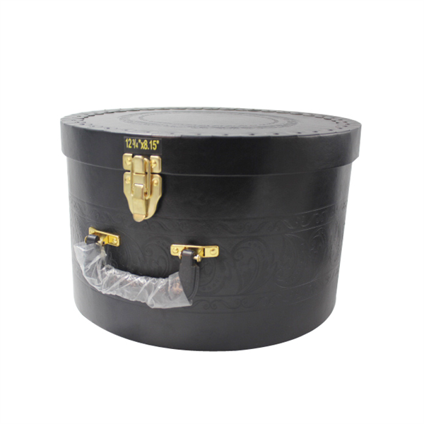 PU leather wrapping rigid paper round box with handle