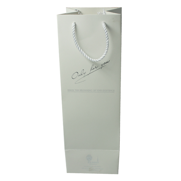 Silver hot stamping logo paper bags for wine packaging