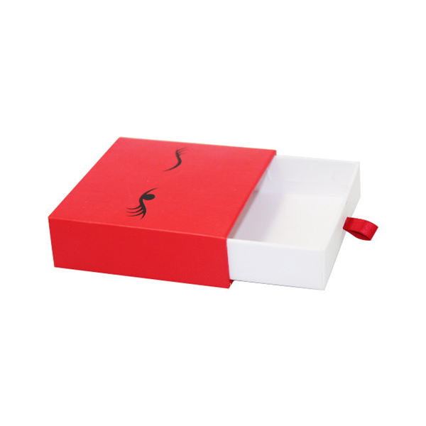 Small red paper sliding box for gift packaging