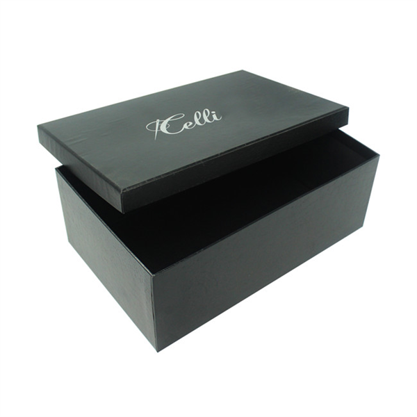 Personalized black paper box with lid for shoes packaging