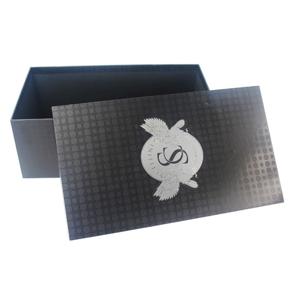 Customized black paper gift box for shoes packaging