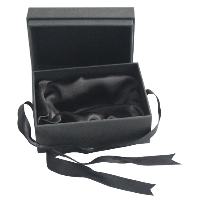 Black Gift Box with Ribbon and Stain Tray