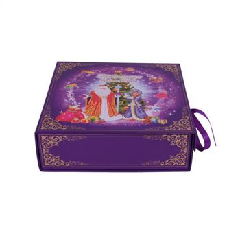 purple color of folding box with ribbon