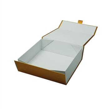 gold color paper gift box for wedding dress packaging factory