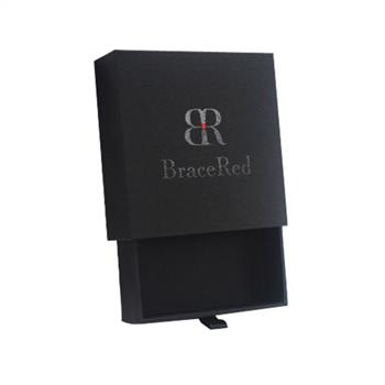 Black card jewelry gift box with spot UV logo