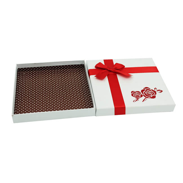 chocolate gift box with ribbon decoration
