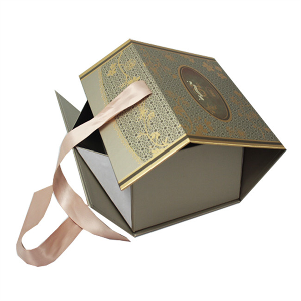 custom folding gift box with ribbon for cosmetic