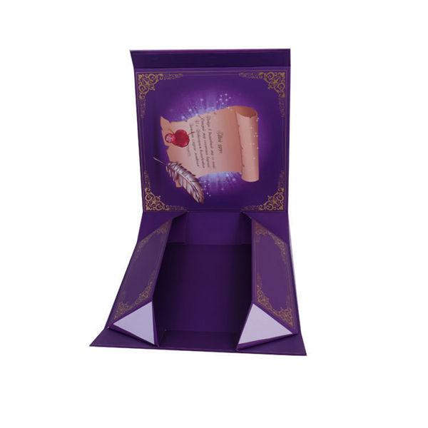 Closure Matte Purple Foldable Collapsible Magnetic Boxes, Flat Folding Cardboard