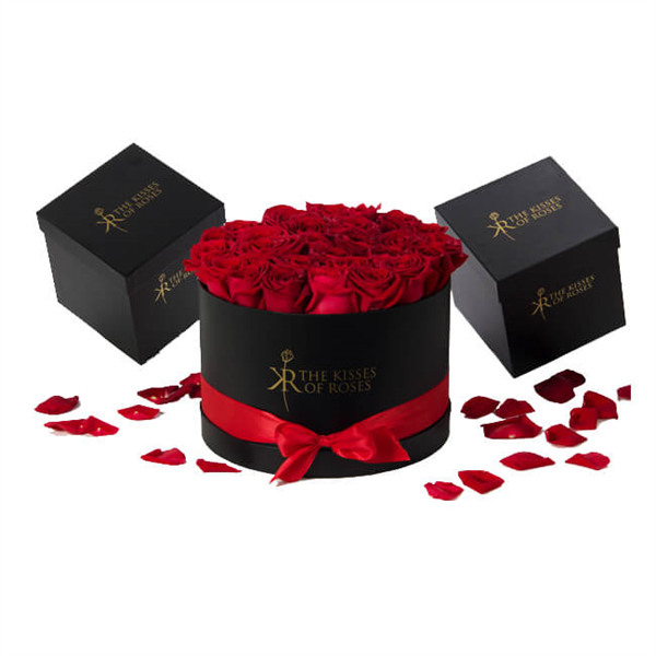 Customized black round paper gift box for flower packaging supplier