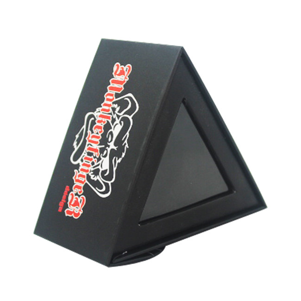 Triangle style black paper magnetic box with PVC window